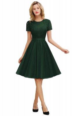Jewel Kee Length Short Sleeves Lace Bridesmaid Dresses   Burgundy Wedding Gues Dresses_6