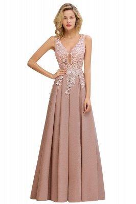 Elegant Sleeveless V-neck Floor Length Appliques Prom Dresses | Backless Evening Dresses_1