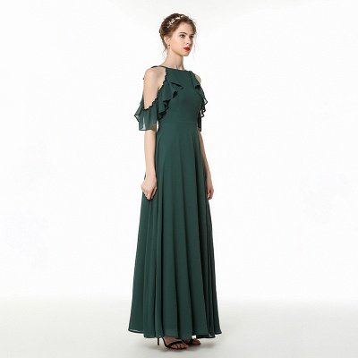 Cold-Shoulder Chiffon Floor Length Jewel Prom Dresses Simple Bridesmaid Dresses_1