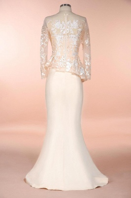 Elegant Jewel Floor Length Long Sleeves Peplum Champagne Prom Dresses_6