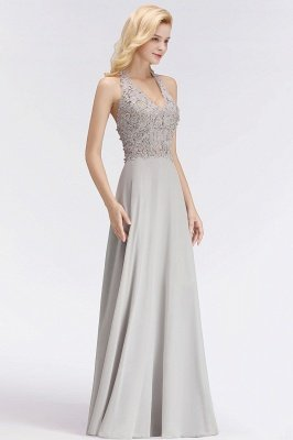 Elegant Halter A-line Appliques Chiffon Long Bridesmaid Dresses | Simple Wedding Guest Dresses_9
