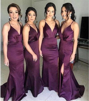Spaghetti Straps V-neck Fitted Bridesmaid Dresses | Sexy Long Maid of Honor Dresses_1