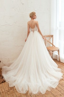 Elegant Spaghetti Straps Lace Up A-line Floor Length Lace Tulle Wedding Dresses_19