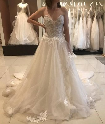 Strapless Sweetheart A-line Lace Tulle Wedding Dresses | Gorgeous Bridal Gown_4