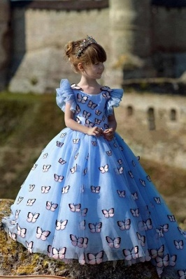 Jewel Cap Flounce Sleeves Puffy Flower Girl Dresses with Handmade Butterflies
