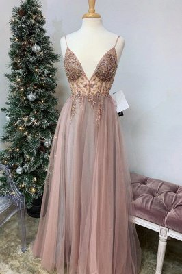 Spaghetti Straps V-neck Sheer Top Sexy Long Prom Dresses with Side Slit | Elegant Tulle Evening Dresses_8