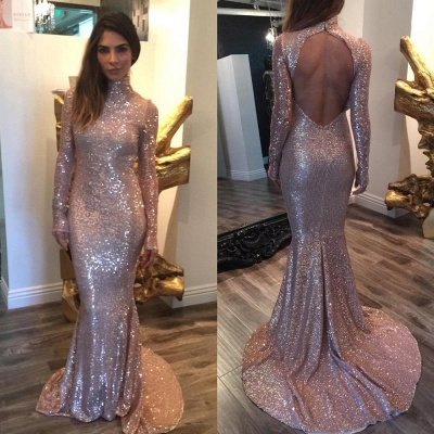 Open-Back Mermaid Sequins High-Neck Shiny Long-Sleeves Prom Dresses_2