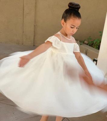 Jewel Cold-Shoulder Sheer Top Lace Tulle Flower Girl Dresses_3