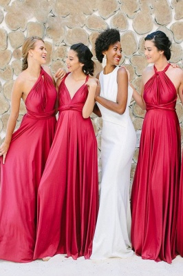 Satin Convertible Long Sexy Bridesmaid Dresses | Elegant Wedding Guest Dresses_1