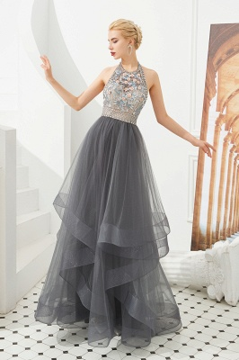 Stylish Floor Length Halter Beaded Tiered Blackless Tulle Prom Dresses_1