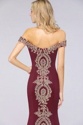 Simple Off the Shoulder Appliques Fitted Floor Length Evening Gown_41