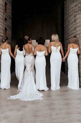 Floor Length Spaghetti Straps Elegant White Bridesmaid Dresses | Gorgeous Wedding Guest Dresses_3