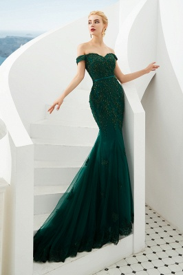 Gorgeous Off the Shoulder Jade Long Mermaid Prom Dresses | Floor Length Evening Dresses_3