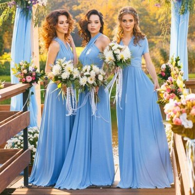 Convertible Blue Long Bridesmaid Dresses | Sexy Maid of Honor Dresses_5