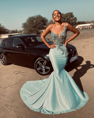 Jewel Sleeveless Sheer Appliques Sexy Mermaid Prom Dresses | African Style Prom Dresses_3
