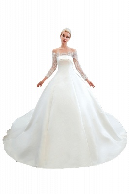 Off the Shoulder Long Sleeves Lace Up Floor Length A-line Lace Wedding Dresses_20