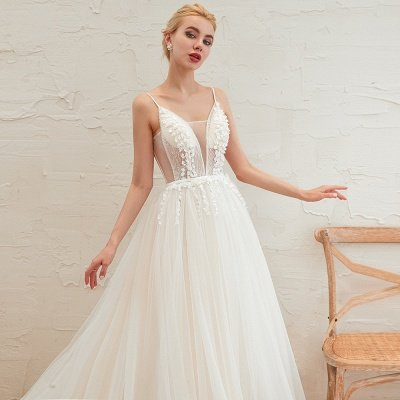 Elegant Spaghetti Straps Lace Up A-line Floor Length Lace Tulle Wedding Dresses_13