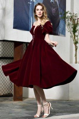 Burgundy Flare Sleeve Deep V Neck Tea Length A Line Prom Dresses | Ruffles Evening Dresses_6