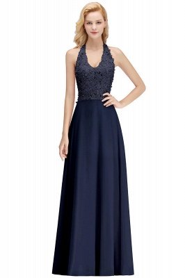 Elegant Halter A-line Appliques Chiffon Long Bridesmaid Dresses | Simple Wedding Guest Dresses_14