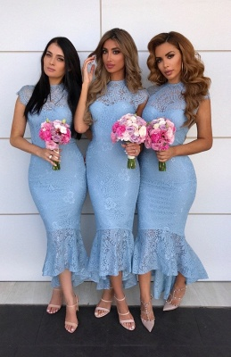 Cap Sleeves Jewel Tea Length Mermaid Lace Bridesmaid Dresses  | Affordable Maid of Honor Dresses_2