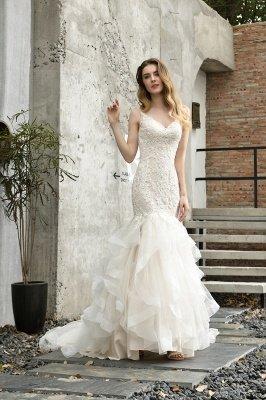 Gorgeous Floor Length Tulle Appliques Mermaid Wedding Dress_6