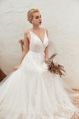 Gorgeous Spaghetti Straps Sweep Train V-neck Lace-Up Lace Wedding Dresses_9