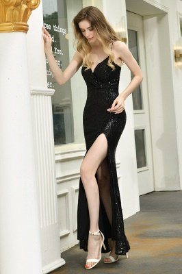 Black Spaghetti Strap V Neck Sequined Front Slit Floor Length Sheath Prom Dresses | Backless Evening Gown_15