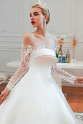 Off the Shoulder Long Sleeves Lace Up Floor Length A-line Lace Wedding Dresses_19