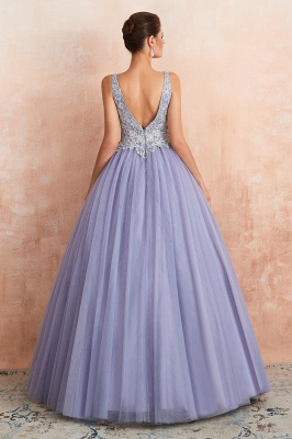 Straps V-neck Sexy Applique Long Prom Dresses | Glamorous Puffy Evening Dresses_6