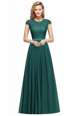 Cap Sleeves Floor Length Jewel Lace Chiffon Bridesmaid Dress | Cheap Prom Dresses_7