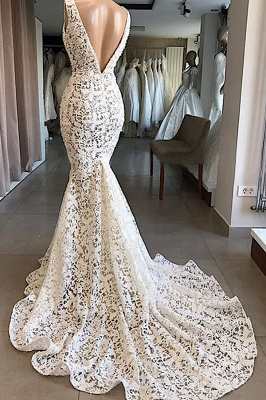 Straps V-neck Mermaid Lace Wedding Dresses | Fit and Flare Bridal Gowns_3