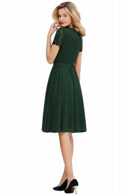 Jewel Kee Length Short Sleeves Lace Bridesmaid Dresses   Burgundy Wedding Gues Dresses_5