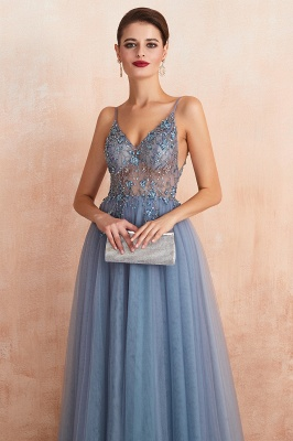 Spaghetti Straps V-neck Sheer Top Sexy Long Prom Dresses with Side Slit | Elegant Tulle Evening Dresses_19