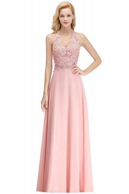 Elegant Halter A-line Appliques Chiffon Long Bridesmaid Dresses | Simple Wedding Guest Dresses_1