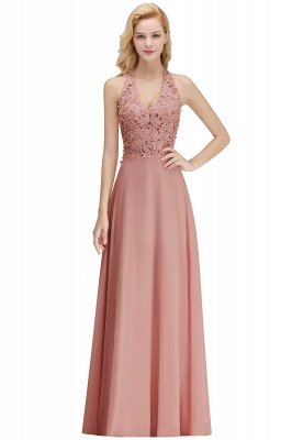 Elegant Halter A-line Appliques Chiffon Long Bridesmaid Dresses | Simple Wedding Guest Dresses_2