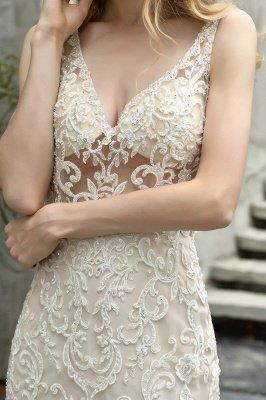 Tulle Lace Sleeveless Sexy Mermaid Wedding Dress_5