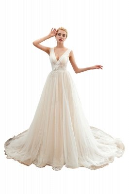 Gorgeous V-neck Straps A-line Floor Length Lace Tulle Wedding Dresses_1