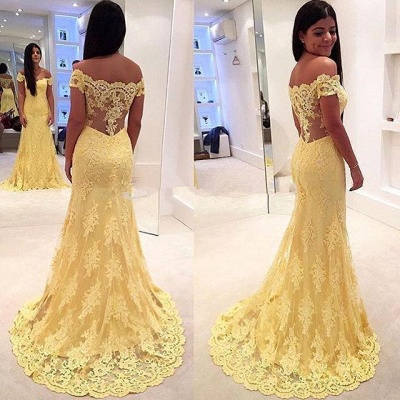 Mermaid Lace Yellow Off-the-Shoulder Prom Dresses_3