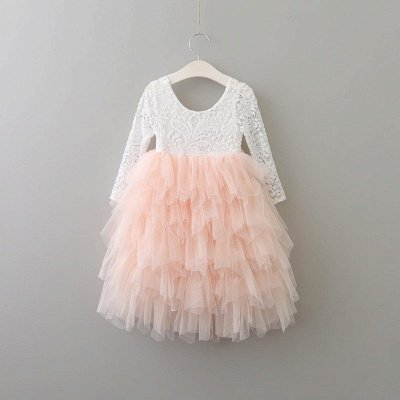 Cute Long Sleeves Jewel Tea Length Lace Tulle Flower Girl Dresses_4