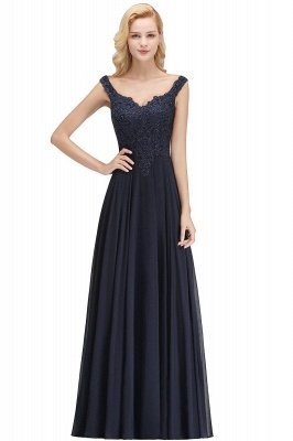 Straps V Neck Backless Applique Pears Chiffon  Floor Length A Line Prom Dresses