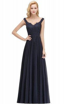 Straps V Neck Backless Applique Pears Chiffon  Floor Length A Line Prom Dresses