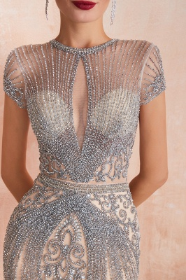 Cap Sleeves Keyhole Jewel Gorgeous Beaded Long Prom Dresses | Elegant Long Evening Dresses_13
