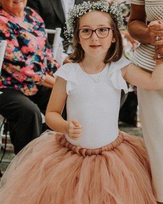 Lovely Jewel Short Sleeves Floor Length Ball Gown Tulle Flower Girl Dresses_3