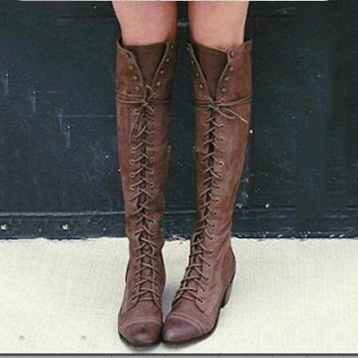 Fashion Lace-Up Knee High Women's Boots_1