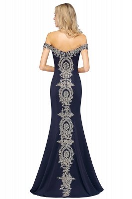 Simple Off the Shoulder Appliques Fitted Floor Length Evening Gown_22