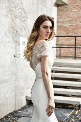 Gorgeous Off the Shoulder Affordable Ivory Mermaid Lace Wedding Dresses_11