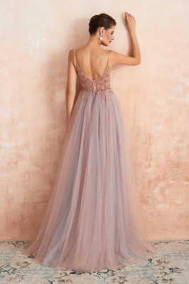 Spaghetti Straps V-neck Sheer Top Sexy Long Prom Dresses with Side Slit | Elegant Tulle Evening Dresses_4