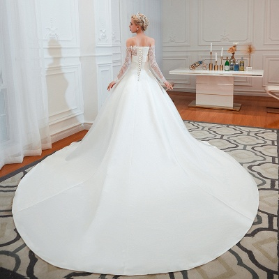 Off the Shoulder Long Sleeves Lace Up Floor Length A-line Lace Wedding Dresses_8