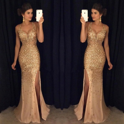 Luxury Gold Mermaid Prom Dresses Sleeveless Front Split Crystals Long Evening Gowns_2