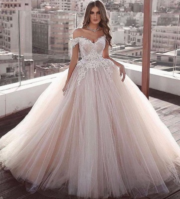 Glamorous Off the Shoulder Floor Length Ball Gown Lace Tulle Wedding Dresses_2